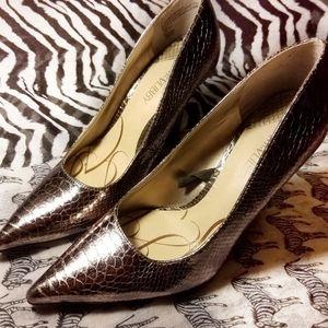 Sam & Libby Foil Snakeskin Heels